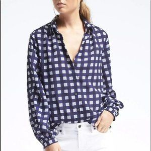 Banana Republic Blue and White Gingham Blouse